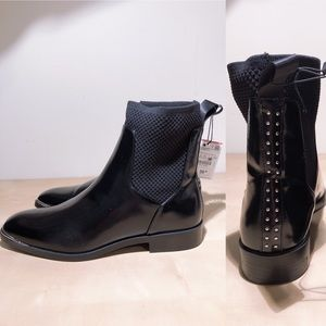 NWT Zara Black Studded Ankle Boots
